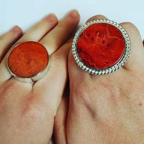Sterling silver ring with natural coral stone Carmina, Bijuterii de argint lucrate manual, handmade