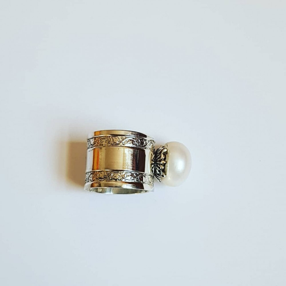 Sterling silver engagement ring with pearl WhiteandDice