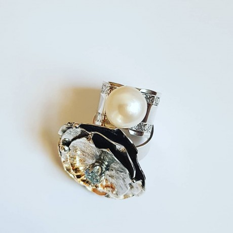 Sterling silver engagement ring with pearl WhiteandDice, Bijuterii de argint lucrate manual, handmade
