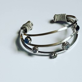 Sterling silver cuff and Swarovski crystals Streamlineisbutcrooked