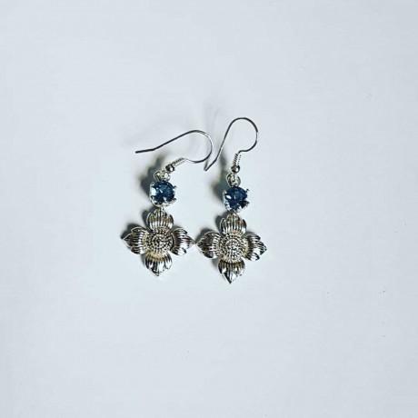 Sterling silver earrings and aquamarines FlowerPeak, Bijuterii de argint lucrate manual, handmade