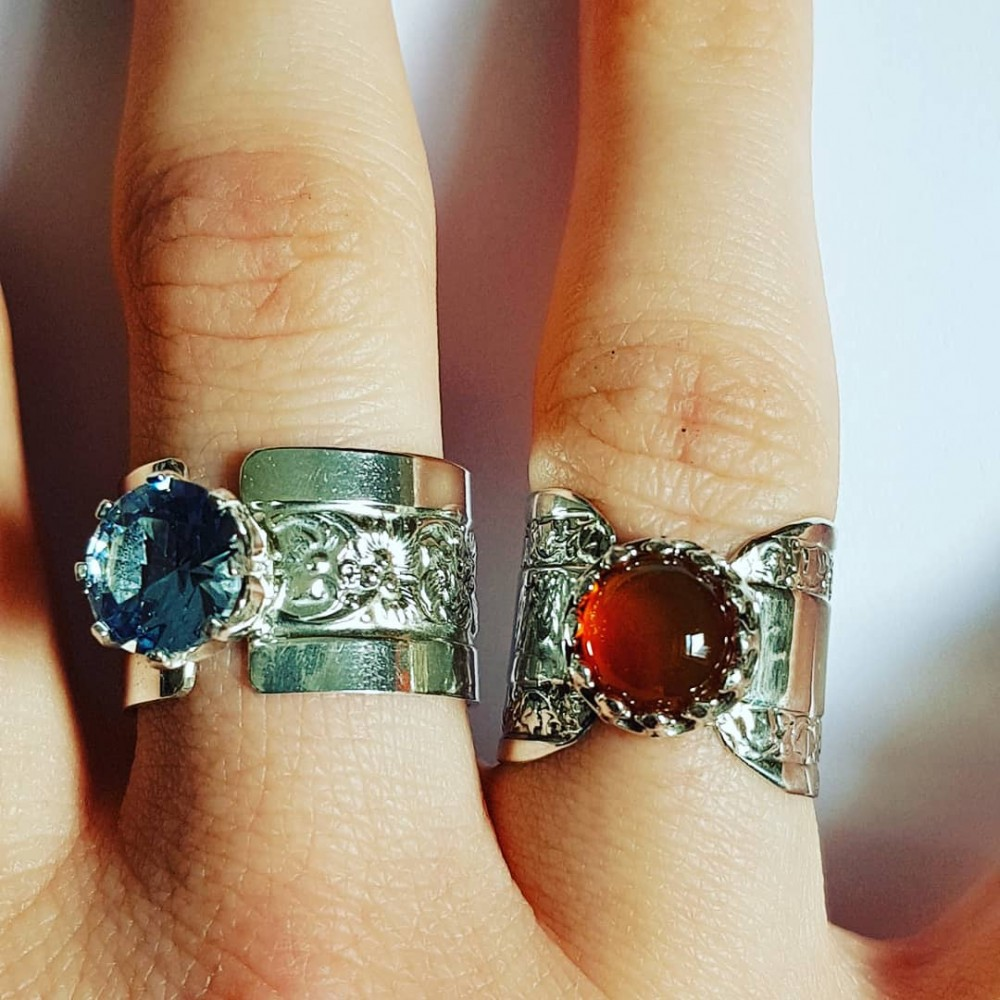 Sterling silver engagement ring with natural carnelian