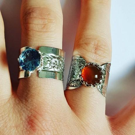 Sterling silver engagement ring with natural carnelian, Bijuterii de argint lucrate manual, handmade