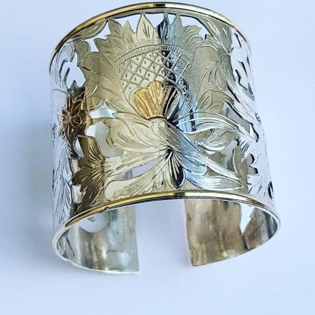 Gold and Sterling silver cuffs ByeveryMeansscrumpitous, Bijuterii de argint lucrate manual, handmade