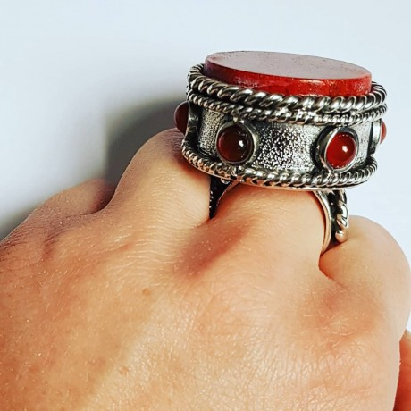 Large and Massive Sterling silver ring and carnelian and coral Core(for)Red, Bijuterii de argint lucrate manual, handmade