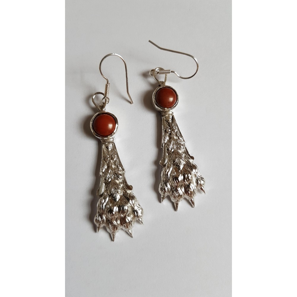 Sterling silver earrings with natural jasper stones Claw 's Wrath