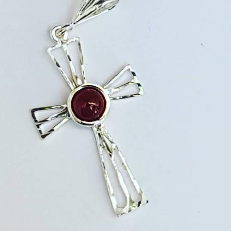 Sterling silver cross and carnelian, Bijuterii de argint lucrate manual, handmade