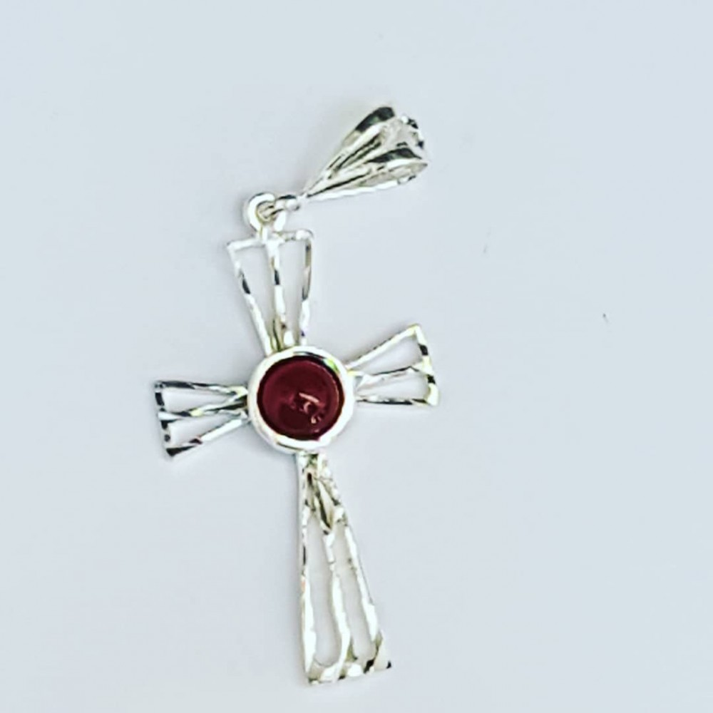 Sterling silver cross and carnelian