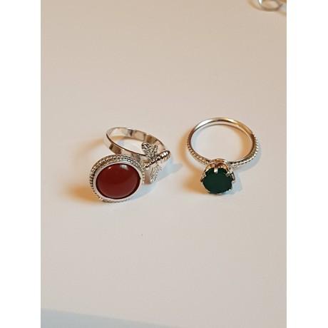 Sterling silver ring with natural carnelian Red Beaky, Bijuterii de argint lucrate manual, handmade