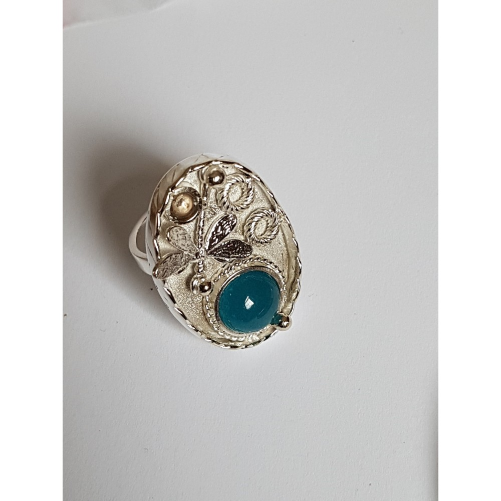 Sterling silver ring with natural aquamarine Springish