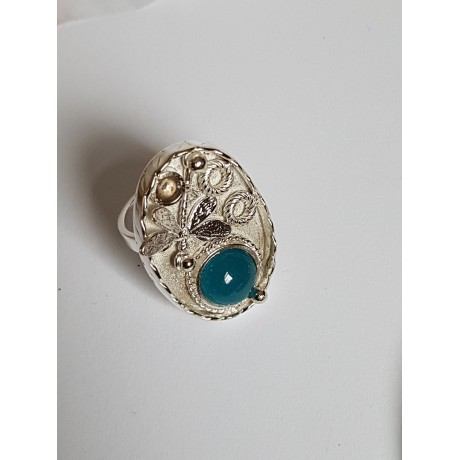 Sterling silver ring with natural aquamarine Springish, Bijuterii de argint lucrate manual, handmade