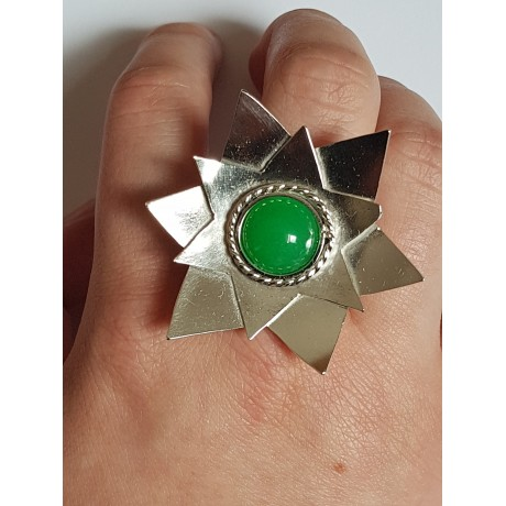 Sterling silver ring with natural agate stone Waste of Green, Bijuterii de argint lucrate manual, handmade