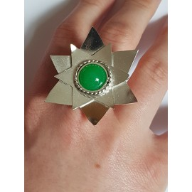 Sterling silver ring with natural agate stone Waste of Green