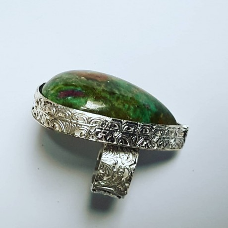 Sterling silver ring with natural zoisite Talismanic, Bijuterii de argint lucrate manual, handmade