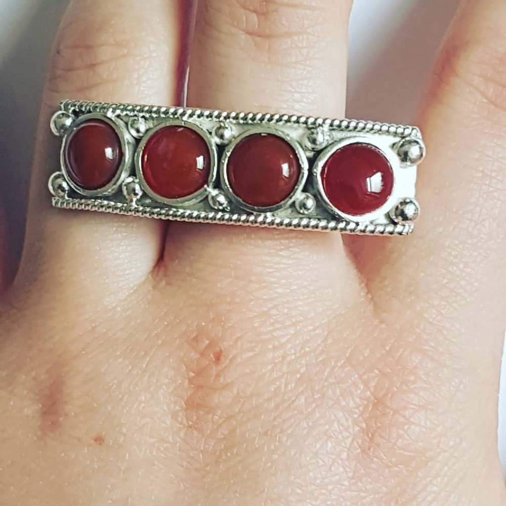 Sterling silver ring with natural carnelian Red Chloe