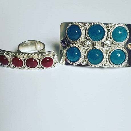 Sterling silver ring with natural carnelian Red Chloe, Bijuterii de argint lucrate manual, handmade