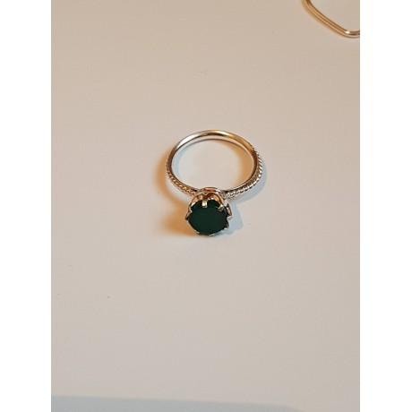 Sterling silver ring Green Spot, Bijuterii de argint lucrate manual, handmade