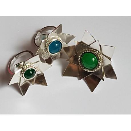 Sterling silver ring Staple Green, Bijuterii de argint lucrate manual, handmade