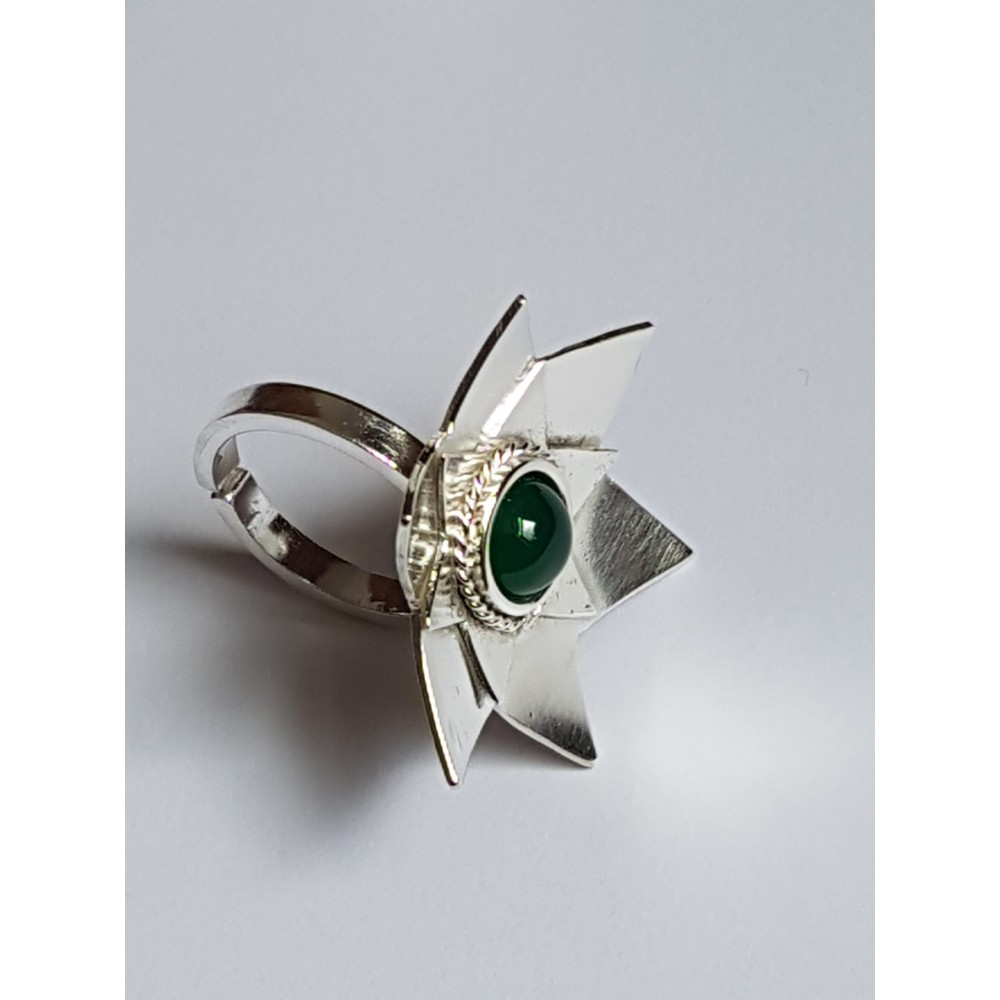 Sterling silver ring Staple Green