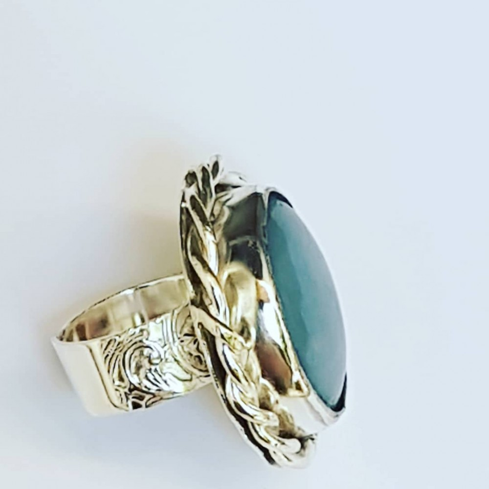 Sterling silver ring with natural Anhydrite Lithe Angelum