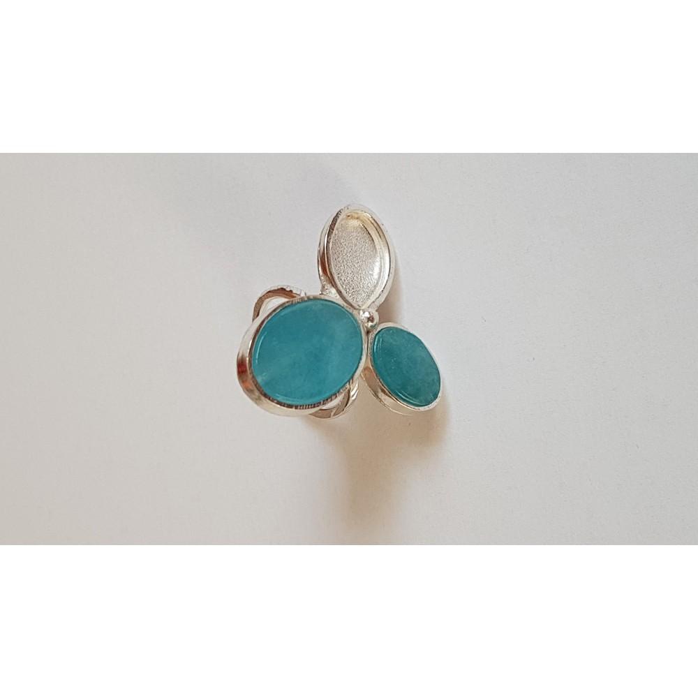 Sterling silver & natural aquamarine stones Blue Flowerlet