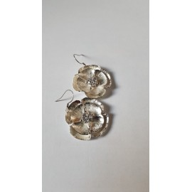 Sterling silver earrings Flowerin ', Bijuterii de argint lucrate manual, handmade
