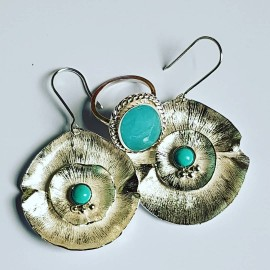 Large Sterling Silver earrings & natural Turqoise Flower Spirit, Bijuterii de argint lucrate manual, handmade