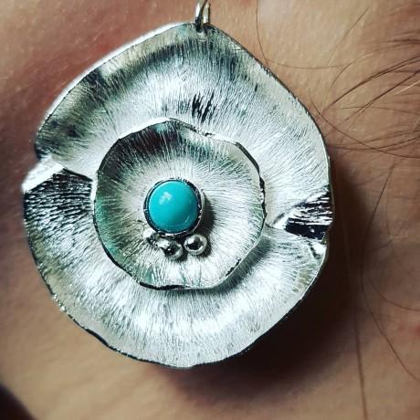 Large Sterling Silver earrings & natural Turqoise Flower Spirit, Bijuterii de argint lucrate manual, handmade
