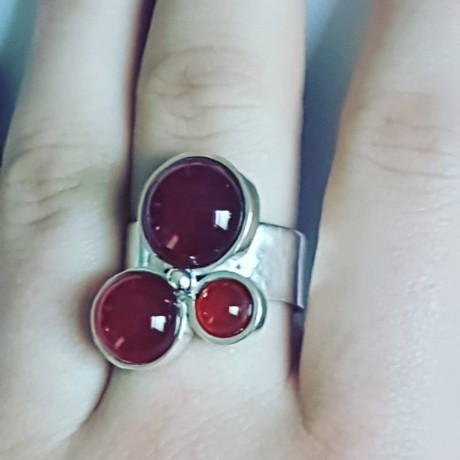 Sterling silver ring Red Clusters, Bijuterii de argint lucrate manual, handmade
