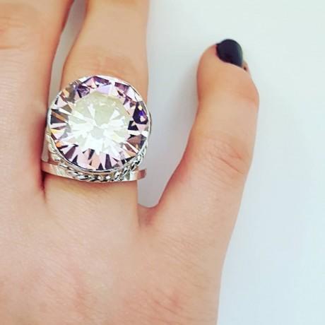 Sterling silver ring Starry Pinks, Bijuterii de argint lucrate manual, handmade