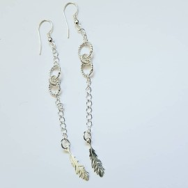 Sterling silver earrings Featherish, Bijuterii de argint lucrate manual, handmade