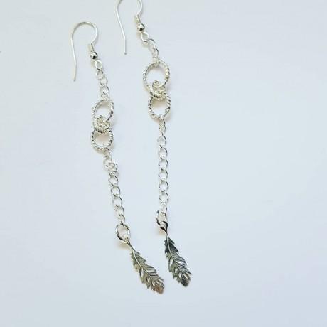 Sterling silver earrings Featherish, Bijuterii de argint lucrate manual, handmade