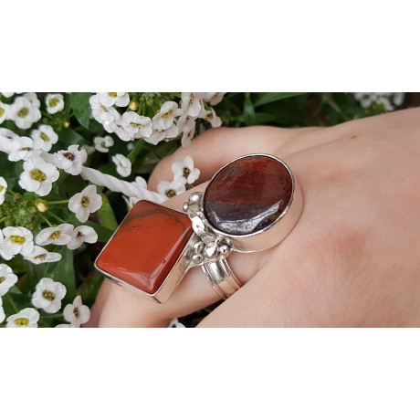 Sterling silver ring with natural red Jaspers Route to Red, Bijuterii de argint lucrate manual, handmade