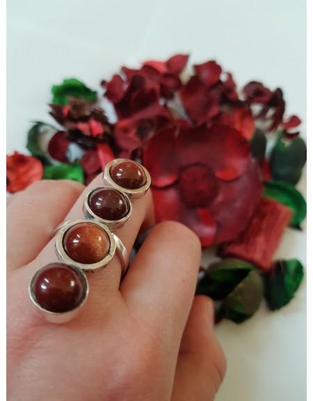 Inel Sun in the Eye, Ag 925 cu piatra soarelui naturala si jad rosu natural, Bijuterii de argint lucrate manual, handmade