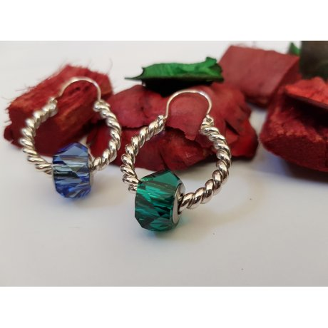 Sterling silver earrings with crystals Posh Pick, Bijuterii de argint lucrate manual, handmade