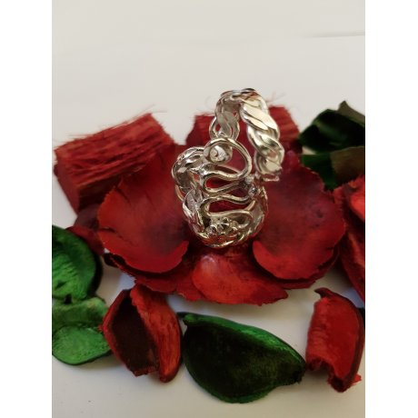 Sterling silver ring Twists and Turns, Bijuterii de argint lucrate manual, handmade