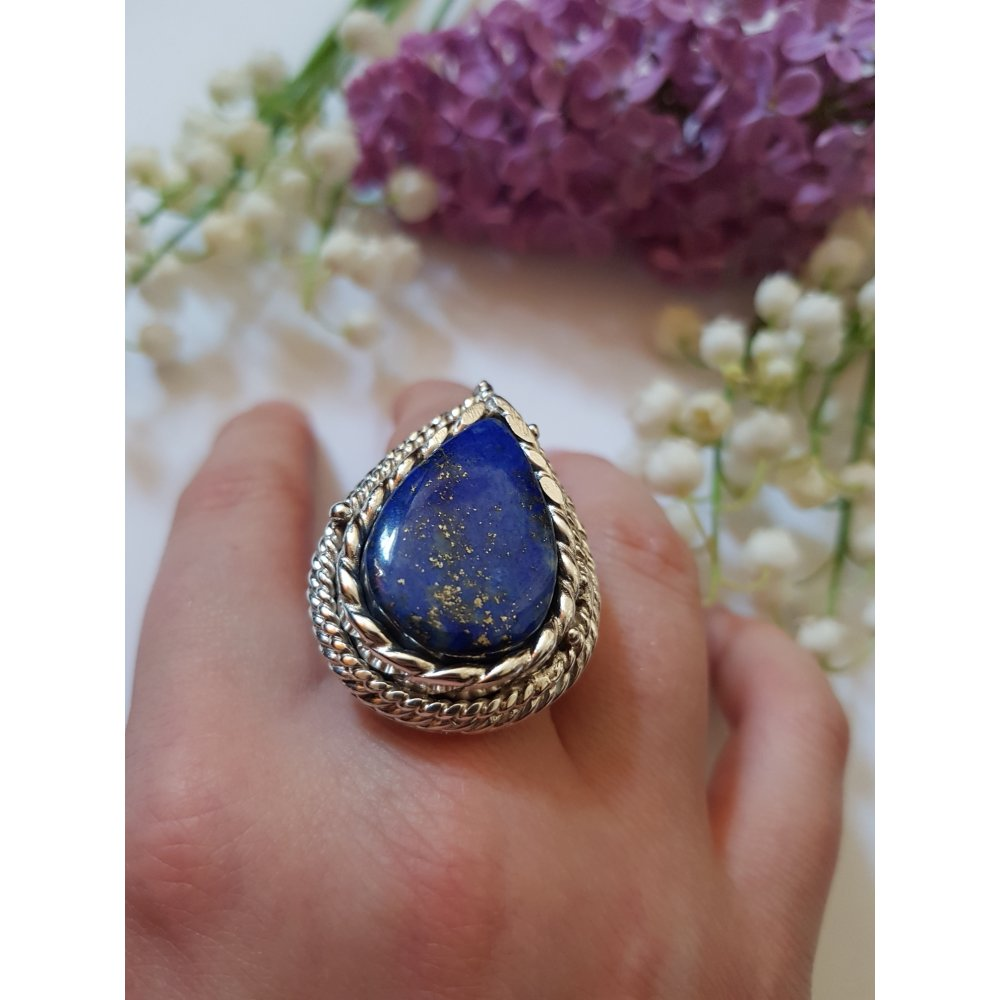 Inel Ag 925 cu lapislazuli natural, Mandorla of Love & Light