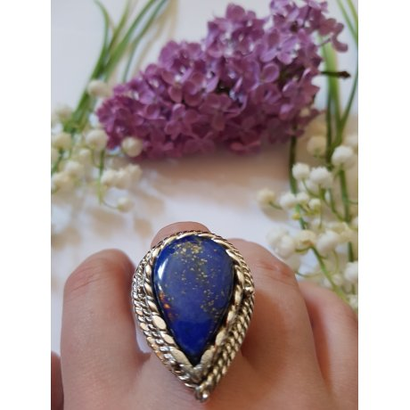 Massive ,large sterling jewel ring with natural Lapislazuli, Mandorla of Love & Light, Bijuterii de argint lucrate manual, handmade
