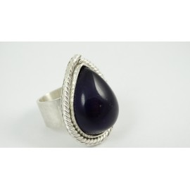 Sterling silver ring Guilded Love with large natural amethyst, Bijuterii de argint lucrate manual, handmade