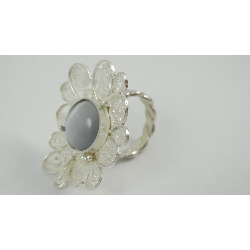 Sterling silver and pure filigree ring Fleur Couture
