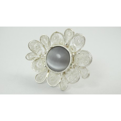 Sterling silver and pure filigree ring Fleur Couture, Bijuterii de argint lucrate manual, handmade