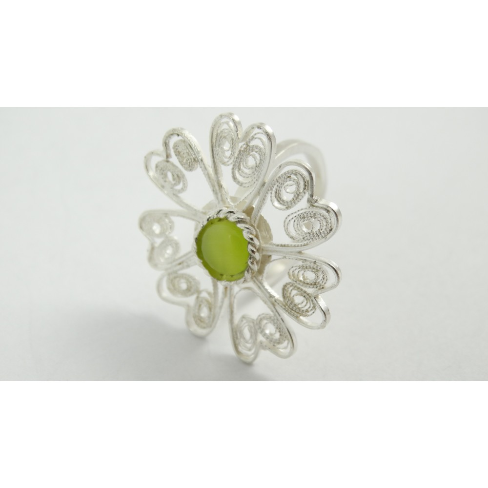 Sterling silver and pure filigree ring Brissure Brulante