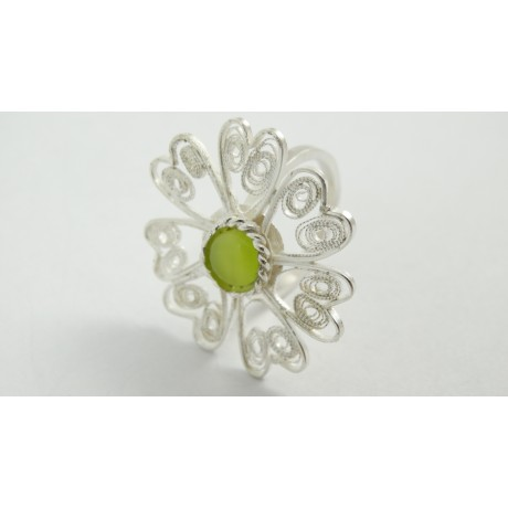 Sterling silver and pure filigree ring Brissure Brulante, Bijuterii de argint lucrate manual, handmade