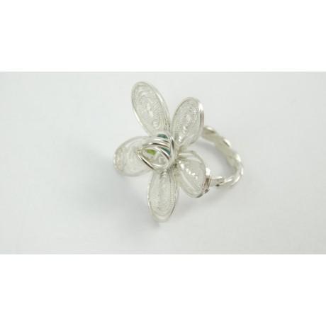 Sterling silver and pure filigree ring Flora Ingenua, Bijuterii de argint lucrate manual, handmade