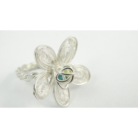 Sterling silver and pure filigree ring Flora Ingenua, Bijuterii de argint lucrate manual, handmade