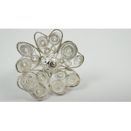 Sterling silver ring Fleur du Coeur with pure filigree