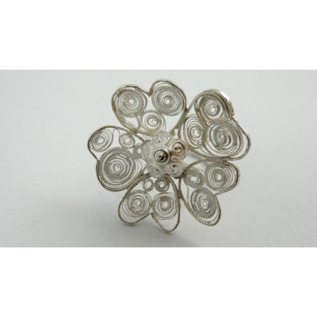 Sterling silver ring Fleur du Coeur with pure filigree, Bijuterii de argint lucrate manual, handmade