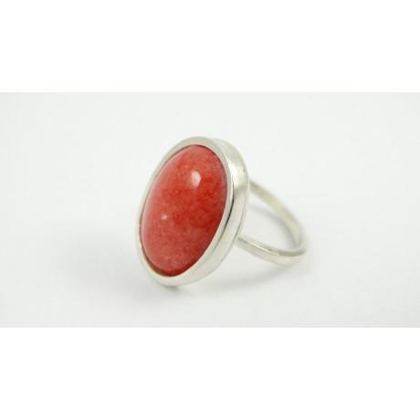 Sterling silver ring and pink jade Dressed in Pink, Bijuterii de argint lucrate manual, handmade