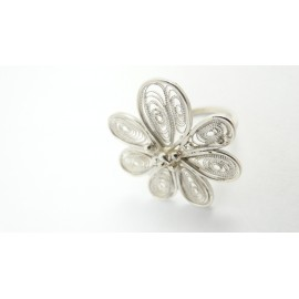 Sterling silver and pure filigree ring Langage Fleuristique