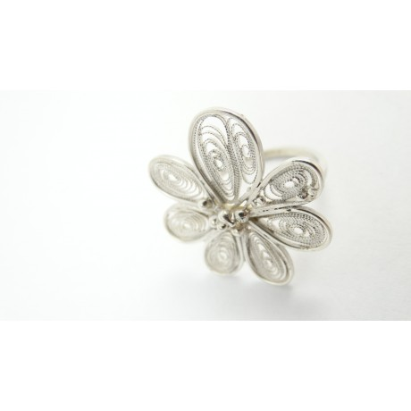 Sterling silver and pure filigree ring Langage Fleuristique, Bijuterii de argint lucrate manual, handmade